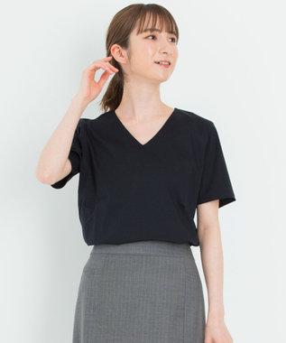 23区 【洗える】DOUBLE SMOOTH Vネック Tシャツ ネイビー系