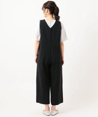 組曲 S 【洗える】リネンブレンド オールインワン ブラック系