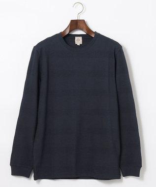 J.PRESS MEN リンクスシャドーボーダー Tシャツ ネイビー系