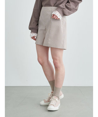 earth music&ecology バックレースアップショートパンツ Pink Beige