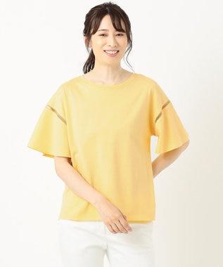 組曲 【洗える】コットンテンジク フレアスリーブ カットソー イエロー系
