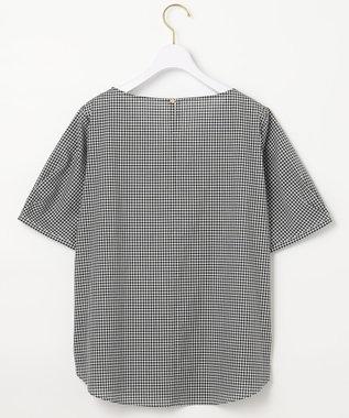 any SiS L 【洗える】コットン/キュプラ タックスリーブ ブラウス 白黒ギンガム