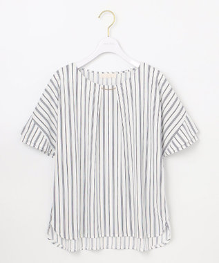any SiS 【UVケア】エアリードレープスムース 半袖 トップス オフストライプ