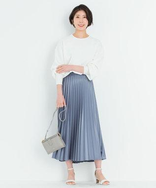 23区 S サテンプリーツ レザー スカート ダルブルー系