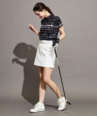 23区GOLF 【WOMEN】【UV/吸汗速乾】オリジナルパレードプリント ストレッチメッシュ シャツ ブラック系5