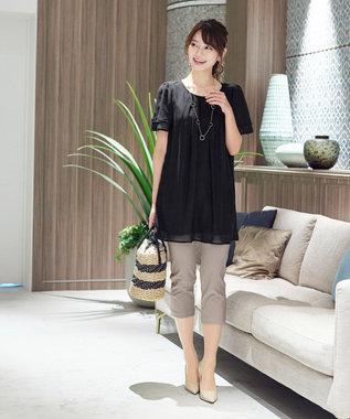 Tiaclasse 【日本製・洗える】レギンス感覚で穿けるストレッチパンツ ベージュ