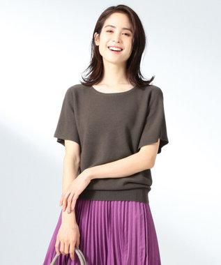 any FAM L 【洗える】ウォッシャブルガーターニットTシャツ ブラウン系