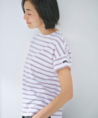 自由区 【WEB限定カラー有】Le Minor(ルミノア) ボーダーカットソー ホワイト×モーブ