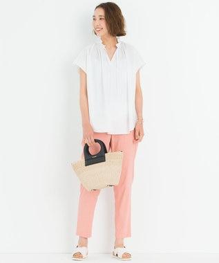 23区 L 【中村アンさん着用】リネンビスコーステーパード パンツ(番号H52) ピンク系