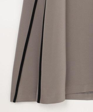 GRACE CONTINENTAL バイカラートリミングドレス グレー