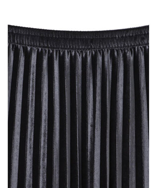 YECCA VECCA ・ベロアプリーツスカート Dark Gray