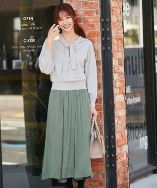 any SiS 【洗える】2WAYボウタイニット×サテン スカート ミント×グリーン