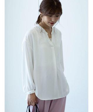 Green Parks <抗菌・防臭機能>Vネックとろみシャツ Off White