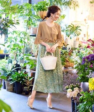 Tiaclasse 【洗える】大人上品なシフォンジョーゼットケシプリーツスカート ミント