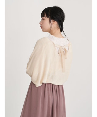 earth music&ecology バックリボンボレロカーディガン Ivory