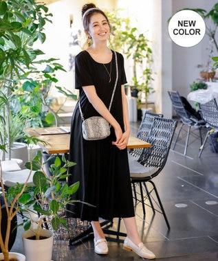 Tiaclasse 【リラックス・洗える】ストレスフリーで着用できるカットソータックワンピース ブラック