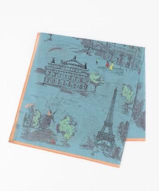 23区 manipuri コットン スカーフ スカイブルー系1