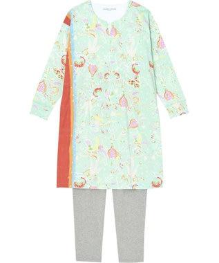 tsumori chisato SLEEP パジャマ ロング袖ロングパンツ 陽気な花柄 /ワコール UDO255 サックス