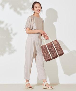 any SiS 【洗える】ハイウエストサイドバックル テーパードパンツ ローズグレー