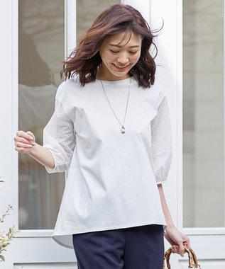 J.PRESS LADIES スムースジャージー 刺繍袖 カットソー ホワイト系