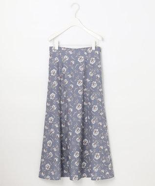 Feroux 【洗える】スモーキートーンフラワー スカート スカイブルー系3