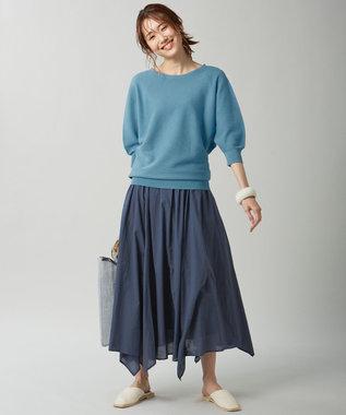 組曲 【洗える】フェルガナコットンボタニカルダイホールガーメント ニット ブルー系