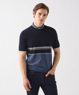 JOSEPH ABBOUD ハイツイストコットンパネルボーダー ニットTシャツ ネイビー系2