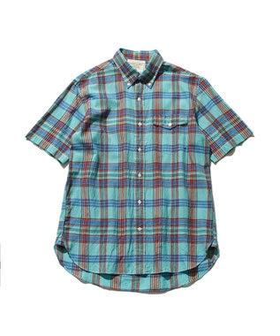 J.PRESS MEN インドマドラスチェック ボタンダウンシャツ ターコイズブルー系3