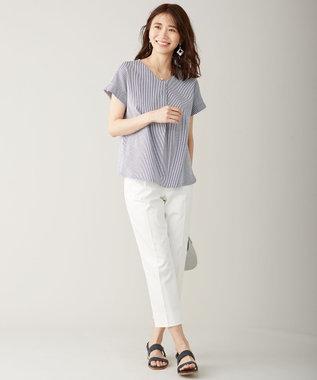 J.PRESS LADIES 【洗える】サテンストレッチ パンツ ホワイト系