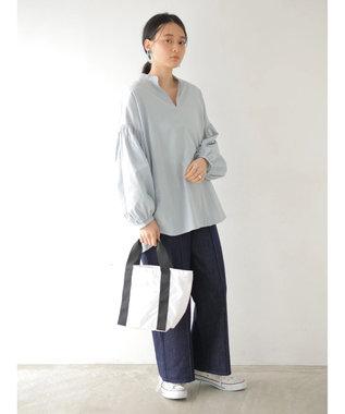 AMERICAN HOLIC 袖ギャザースキッパーシャツ Sax