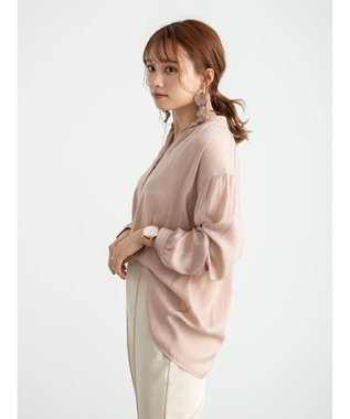 earth music&ecology ヴィンテージサテンブラウス Pink Beige