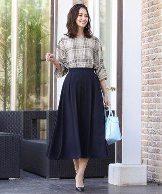 Tiaclasse 【洗える】きれい色で彩る、大人のマキシ丈フレアスカート ネイビー