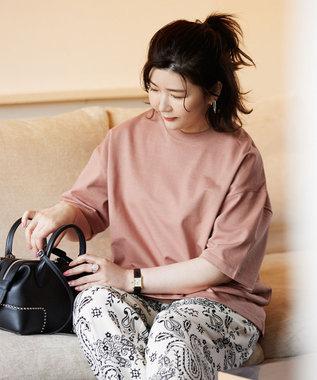 23区 L 【ONWARD MAG】オーバーサイズ コットンクルーネック TEE(番号2K78) ピンク系