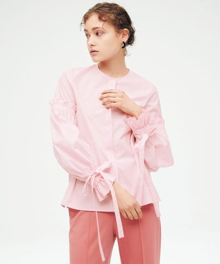 23区 【23区 lab.】ハイカウントブロード デザイン ブラウス(番号S53) ピンク系