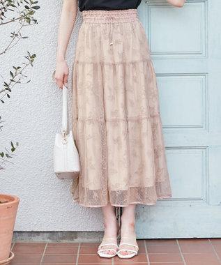 【洗える】ドットチュールフラワー スカート