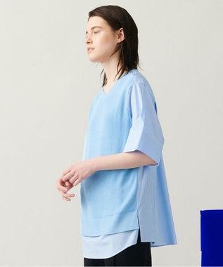 【柚香 光さん着用・洗える】ニット/シャツ ラウンドネックコンビ