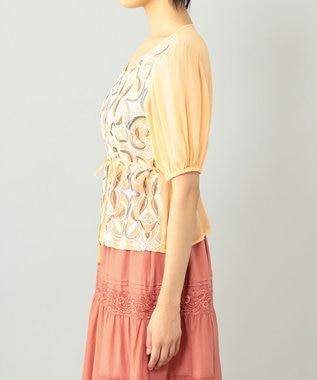 GRACE CONTINENTAL パフスリーブ刺繍ブラウス オレンジ