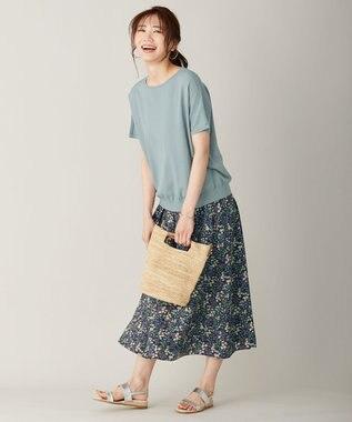 J.PRESS LADIES L 【UVカット・洗える】Functional Cotton Blend 袖レース ニット ターコイズブルー系