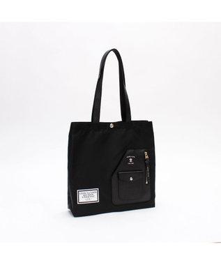 A.D.M.J. リモンタナイロン ライダースポケット付きトートバッグ BLACK