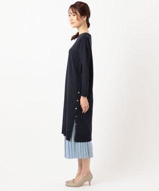 J.PRESS LADIES L 【洗える】ワンピ+プリーツスカート ツインセットワンピース ネイビー系