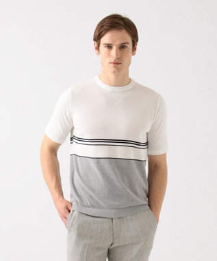 ハイツイストコットンパネルボーダー ニットTシャツ