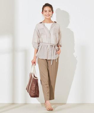 any SiS 【洗える】ハイウエストサイドバックル テーパードパンツ モカ