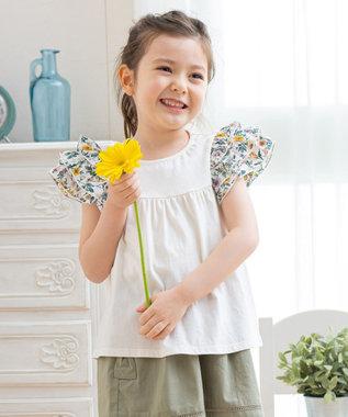 フリルスリーブ花柄Tシャツ