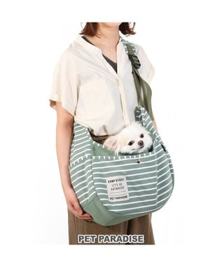 PET PARADISE 犬 キャリーバッグ ペットパラダイス ボーダー スリング 赤 緑 〔超小型犬〕 緑