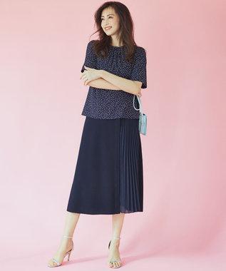 組曲 L 【洗える】CO/PE プリーツコンビ ニットスカート ネイビー系