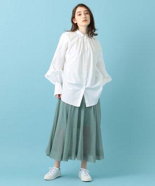 #Newans 【洗える】シアーニットスカート スモークミント系