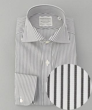 【盛夏用】SUMMER PREMIUMPLEATS_ブラックストライプ_長袖ドレスシャツ