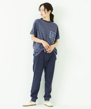 JOSEPH ABBOUD 【SPACE】OG綿スクエアドットプリント ポケTシャツ ネイビー系