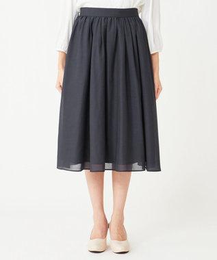 any SiS 【洗える】タックギャザーエアリー スカート ネイビー