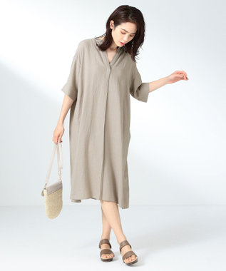 any FAM L 【定番人気】リネンブレンド ワンピース ベージュ系